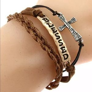 Jewelry - Silver/Gold Rope Engraved BLESSED Bracelet